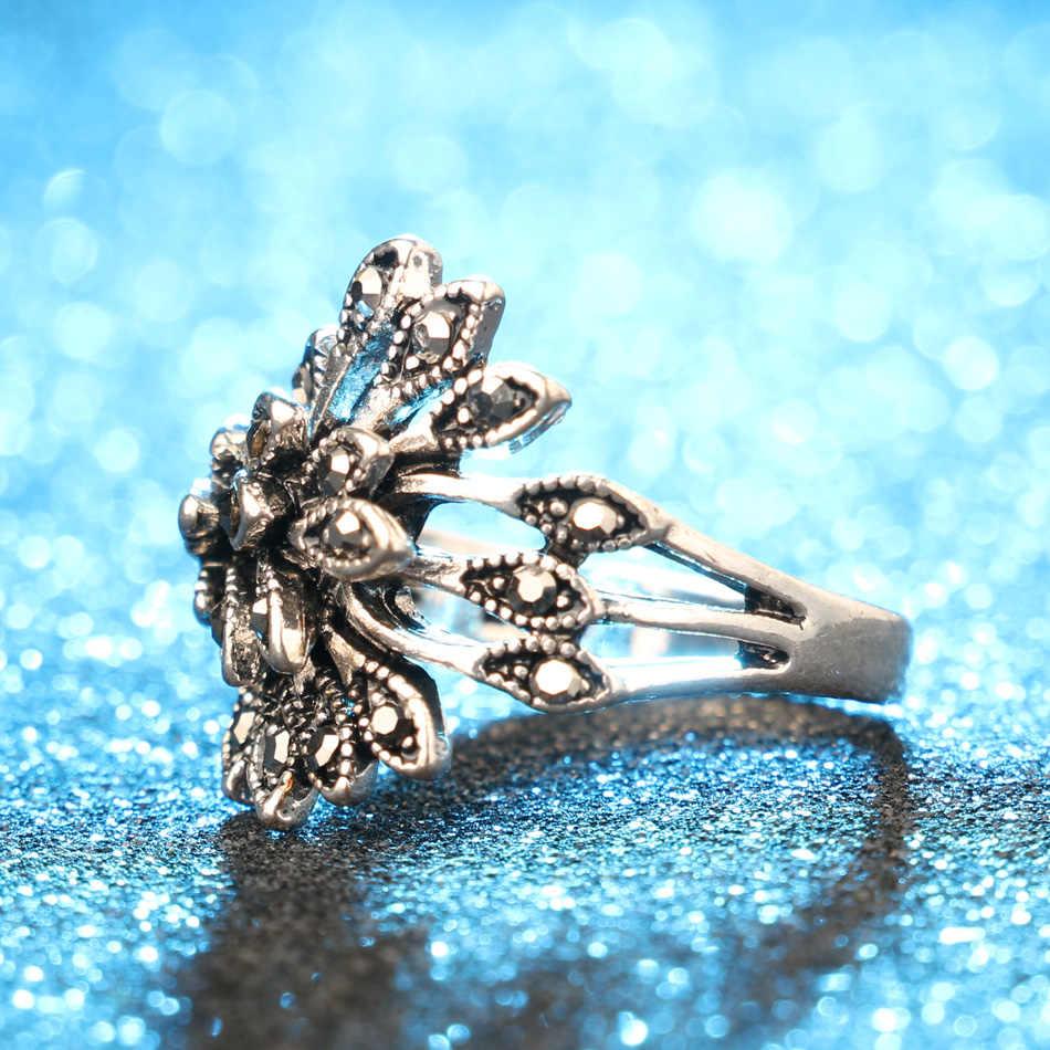 ヴィンテージ黒水晶孔雀の結婚ファッションシルバーカラー少し eeys 葉リングブルガリアジュエリー