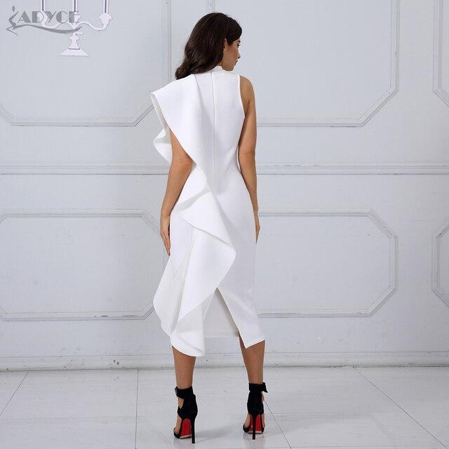 Adyce 2017 Nouveau Style Robe D'été Femmes Sexy Blanc Sans Manches Patchwork Ruches Mini Moulante Robes Partie Robes Clubwear