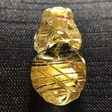 Natural Gold Rutilated Quartz Titanium Pendant Pi Xiu Gemstone Anniversary Gift 25x15xx10mm Crystal Certificate AAAAA