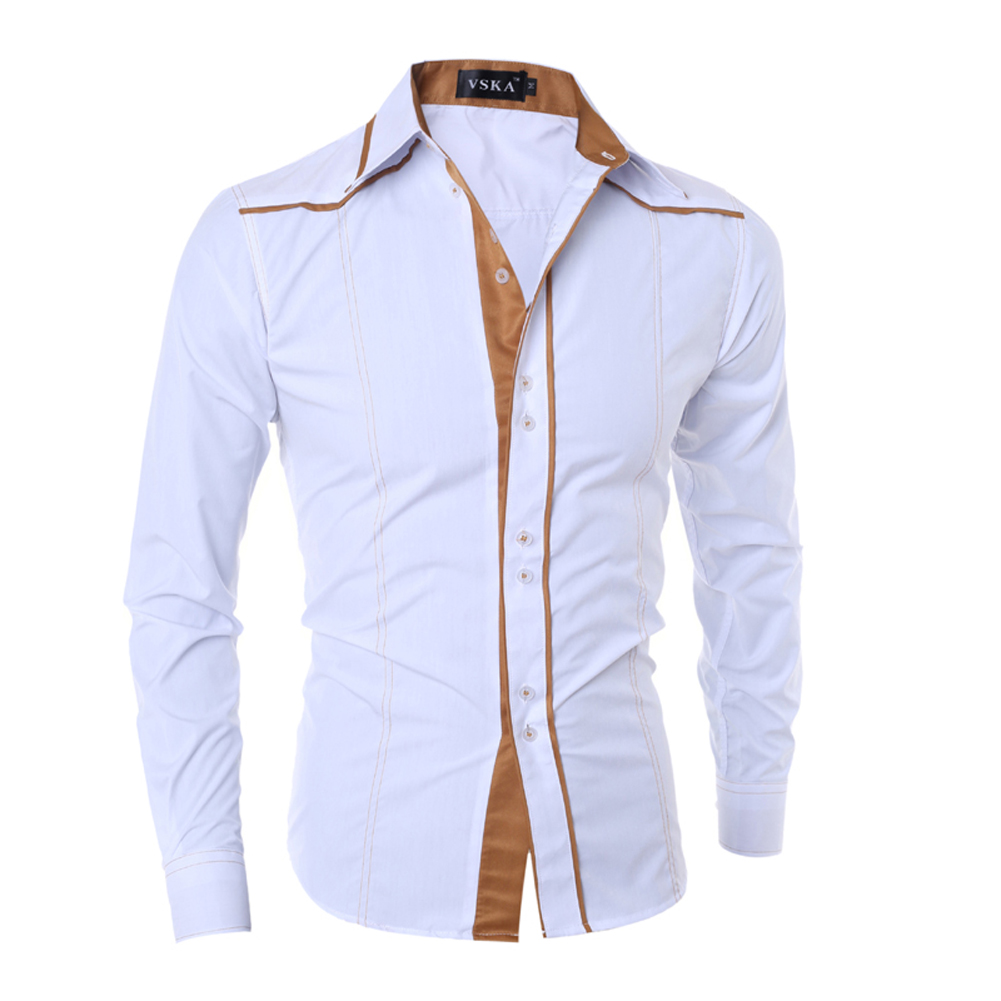 MenS Fashion Shirts Slim Long Sleeve Single Breasted Shirts Formal Casual Style Shirt Br ...