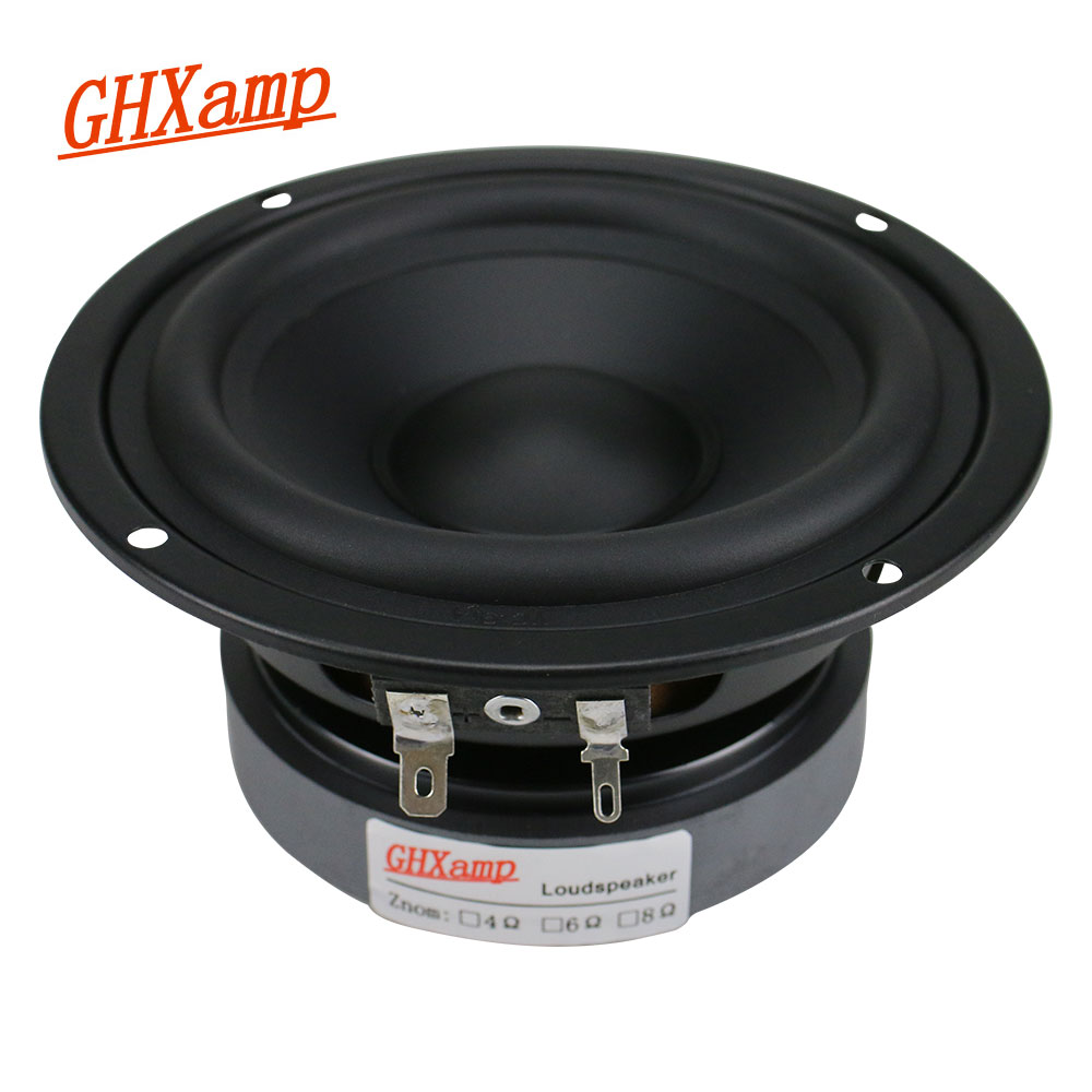 GHXAMP 4.5 Inch Hifi Mid-Bass Speaker 8ohm 80W 115mm Medium Woofer Loudspeaker For Bookshelf Car Audio Rubber edge 1PC ghxamp 3 inch 4ohm 30w midrange speaker car speaker mid human voice sound good loudspeaker for lg diy 2pcs