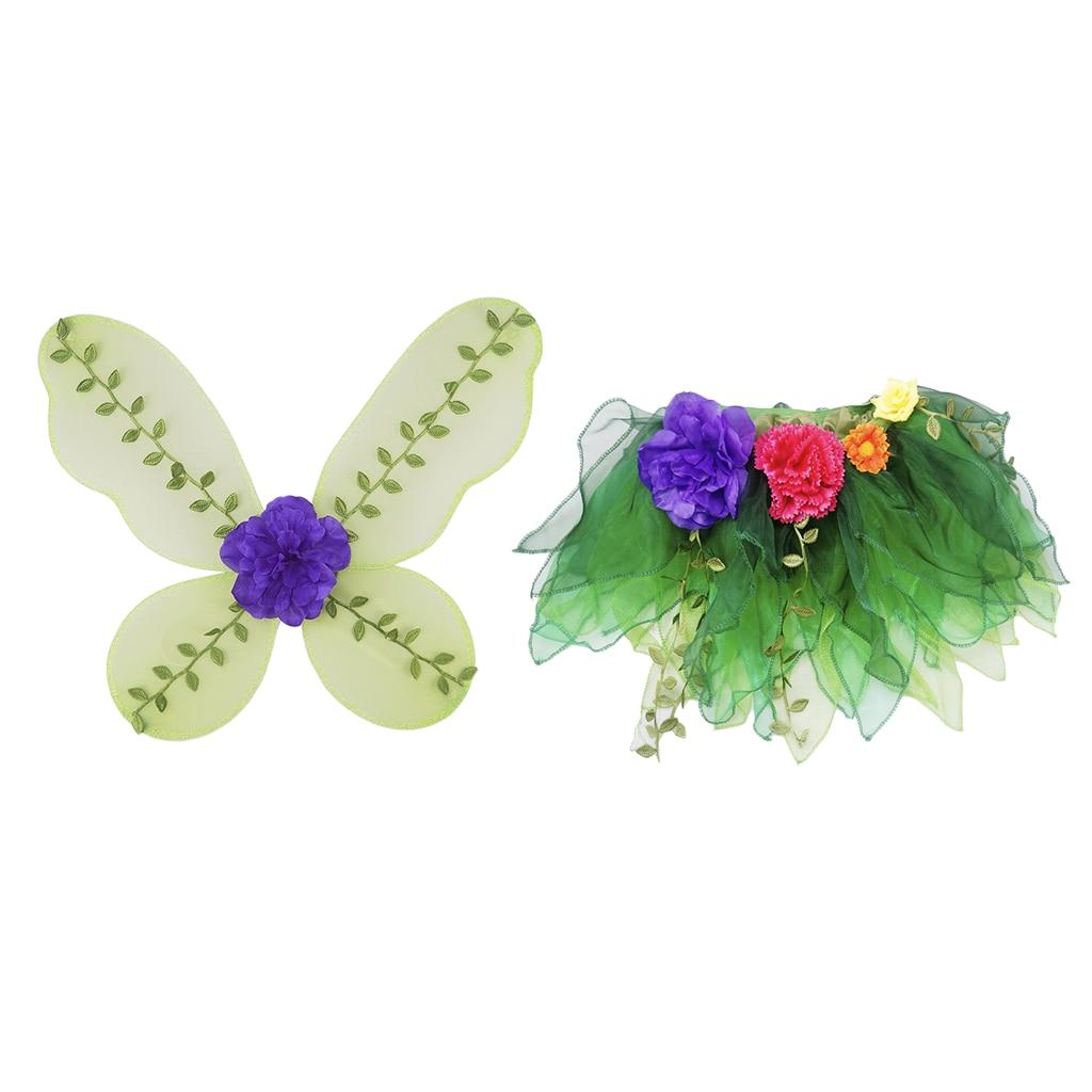 Girls Fairy Butterfly Angel Wing Tutu Skirt Set Green Halloween Dress up Party Princess Costume Props