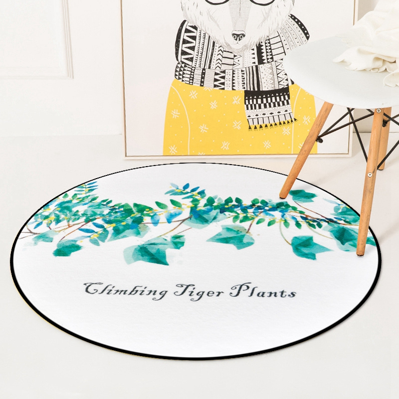 Watercolor Climbing Tiger Plants Round Chair Area Carpet For Living Room Bedroom Home Decor Floor Rugs Kids Play Game Mat Tapete