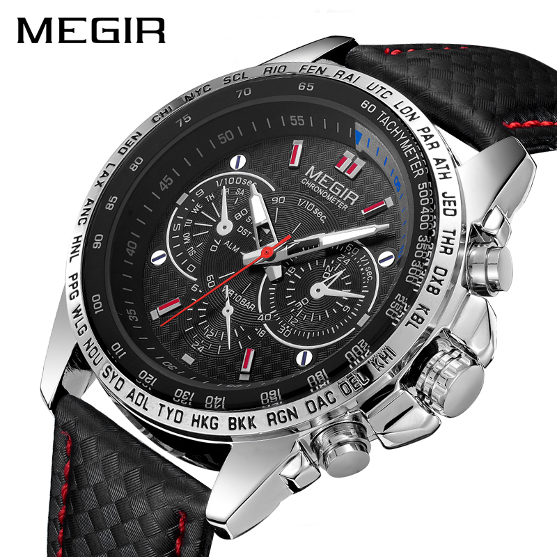 MEGIR Military Watch hot fashion man's quartz wristwatch brand waterproof leather watches for men casual black watch-in Quartz Watches from Watches    1