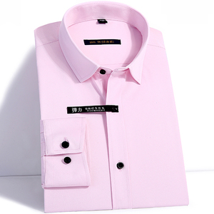 Image 5 - Excellent Quality long sleeved turn down collar bamboo fiber elastic slim fit mens dress shirts without front pocket
