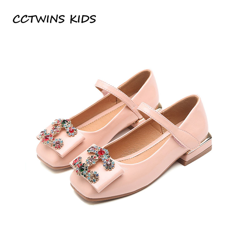 CCTWINS KIDS 2018 Autumn Girl Rhinestone Party Heel Children Pu Leather Mary Jane Baby Fashion Princess Shoe Black GM2094 wendywu 2017 spring toddler fashion pu leather mary jane baby girl rhinestone princess ballet children heeled shoe black
