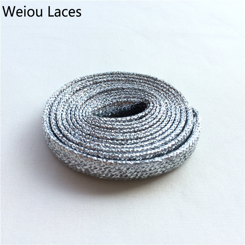 Weiou Flat Dress Shoelaces Colored Boot Laces Metallic Gold Shoelaces White Trainer Laces Cool Shoe Lacing 120cm/47