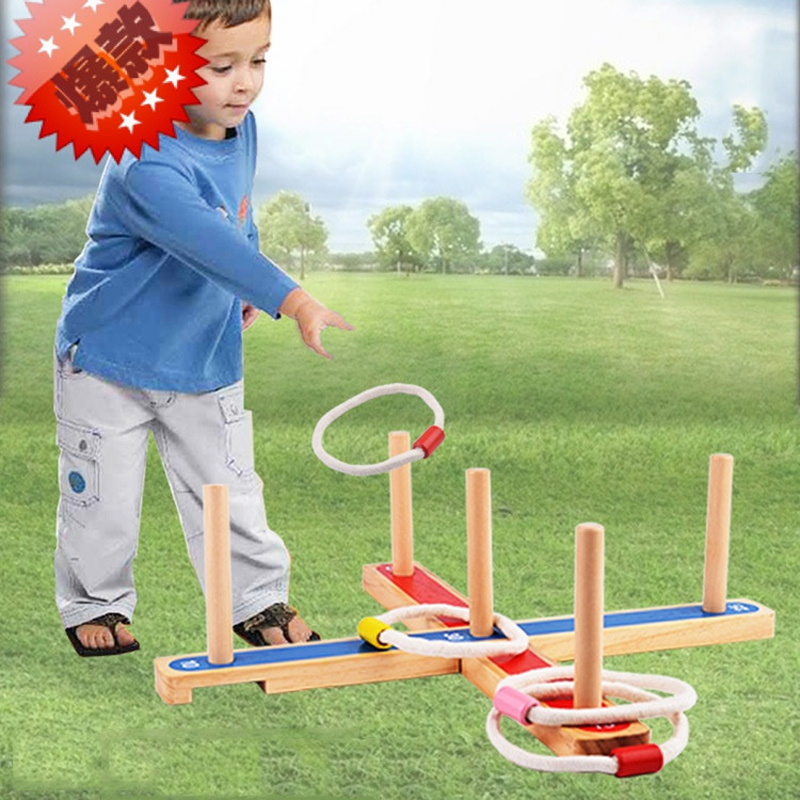 Wooden Ring Toss stand pegs & hoops Outdoor garden game Family Fun affordable family summer play game toys super fun ...