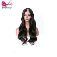 EAYON Brazilian Hair U Part Wig 130 Density Remy Human Hair Body Wavy Middle/Side Part Natural Black Color For Black Women