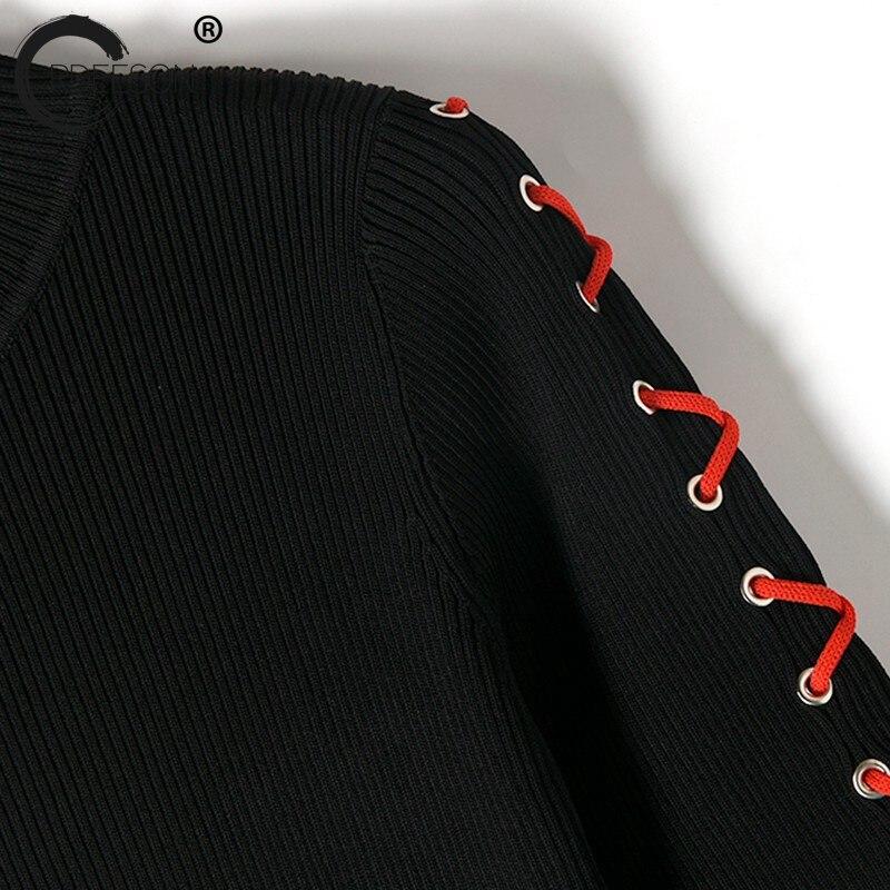 Printemps blanc Noir Noir Vêtements Ordeeson Longues Mini Nouveau Manches De À Casual Bandage Robe Mode Sexy 2018 White Femmes Solide Robes Party ygYbvf76