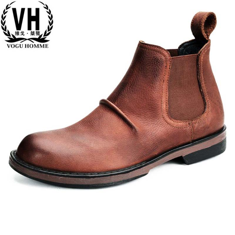 autumn winter British retro fashion Genuine leather Riding boots men all-match cowhide breathable casual shoes Chelsea bootsautumn winter British retro fashion Genuine leather Riding boots men all-match cowhide breathable casual shoes Chelsea boots