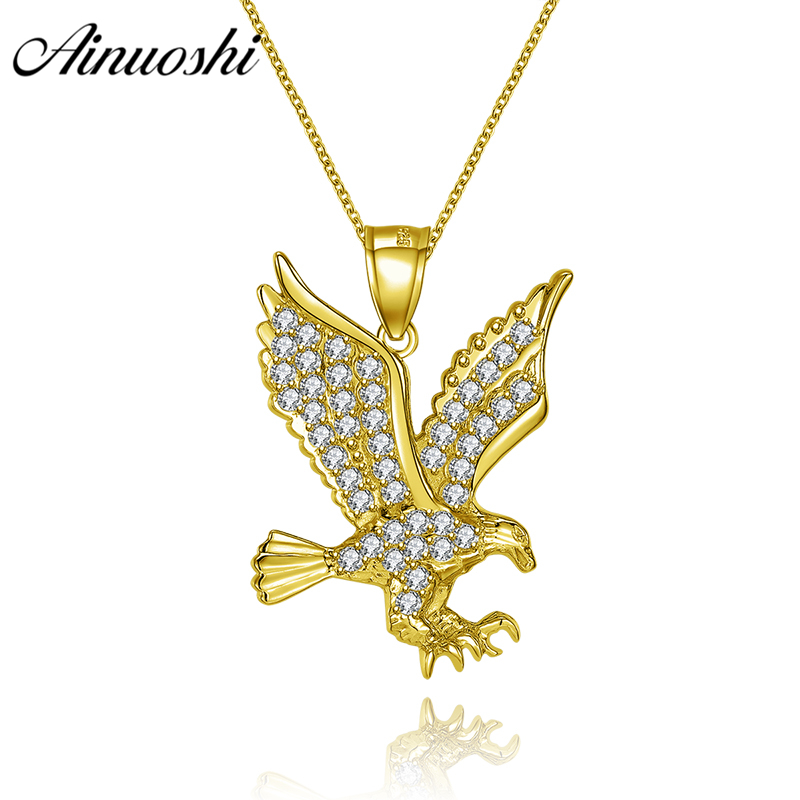 AINUOSHI 10K Solid Yellow Gold Pendant Flying Eagle Pendant SONA Diamond Christian Disciples Priests Jewelry 2g Separate Pendant