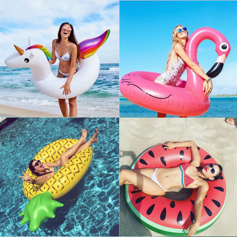 Ins Hot Heart Giant Swimming Ring Inflatable Flamingo Unicorn Pool Float Swan Pineapple Floats Toucan Peacock Water Toys