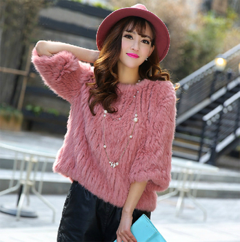 Free Shipping  2014 Women's Natural Rabbit Fur Coat O-Neck Collar   Three Quarter Sleeve Real Rabbit Fur Knitted Jacket BE1421 2