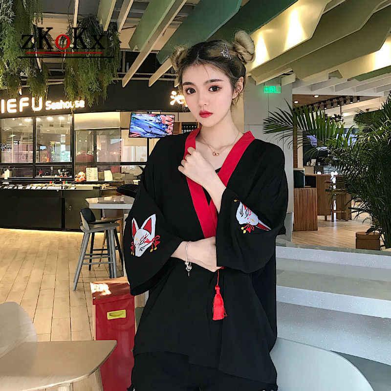 קיץ 2018 נשים חולצה וחולצות יפני קימונו מסורתי נשים ארוך שרוול קרדיגן קימונו קרדיגן מכירה לוהטת יפני שמלה