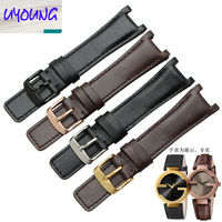 UYOUNG 2019 New genuine Leather watchband substitute YA133205 YA133206 series watch with 20mm x 12MM Black Brown strap for men