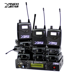 Professional Monitoring UHF Wireless In Ear Headphone Stage Monitor System One USB Transmitter With 10 Beltpack Receivers EW 300