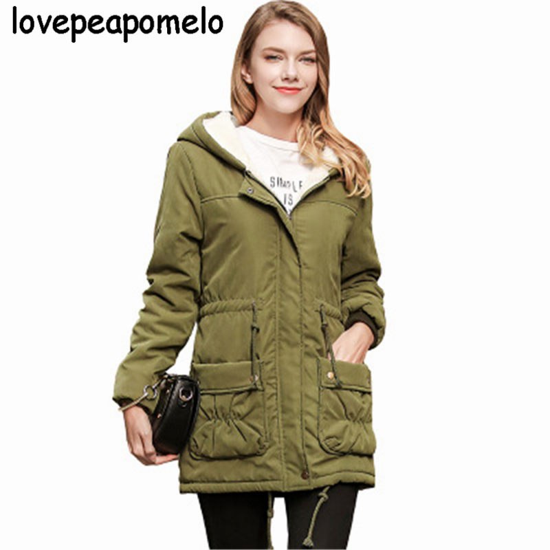 Winter Big Size Female   Parkas   Casual Army green Overcoat Winter Large Size Women Costumes Long Sleeve Ribbon Cotton Coats J622