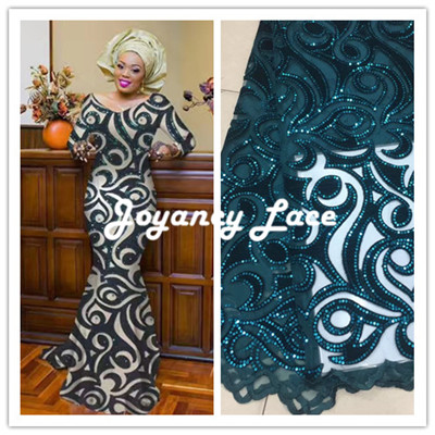 French lace fabric 5yds/pce by dhl velvet with sequins laces for women luxury asoebi dresses 2018 high quality nigerian fabric