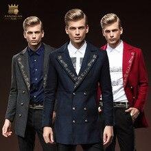Бесплатная Доставка Новая мода мужчина осень зима мужская с длинными рукавами вышитые куртка с длинным fanzhuan Тонкий шерстяное пальто прилив 0090
