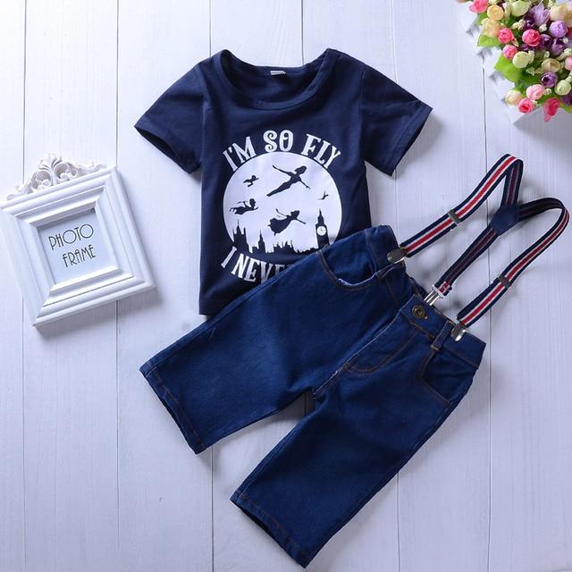 d3b8f5010 2Pcs Sets Children Baby Clothing Suit I'm So Fly T-shirt+Surspender Jeans  Pants 2018 New Summer Children boys girls clothes set