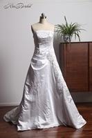 Stunning A Line Taffeta Wedding Dresses Corset Back 2018 Strapless Wedding Gown Sweep Train Sleeveless