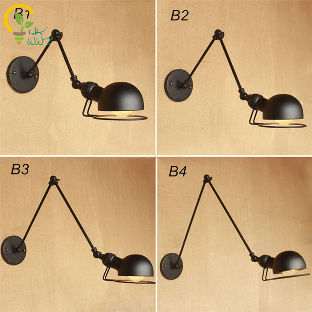 Us 28 91 10 Off Vintage Lampen Industrial Style Loft Creative Minimalist Long Arm Wall Lamp Adjustable Handle Metal Rustic Light Sconce Fixtures In