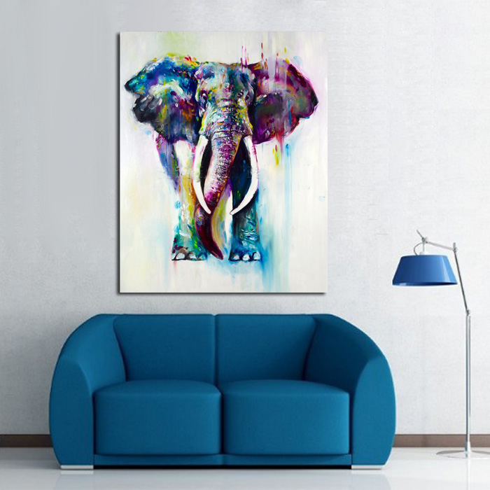 Elephant Family Pictures Watercolor Paintings Abstract Wall Art ...