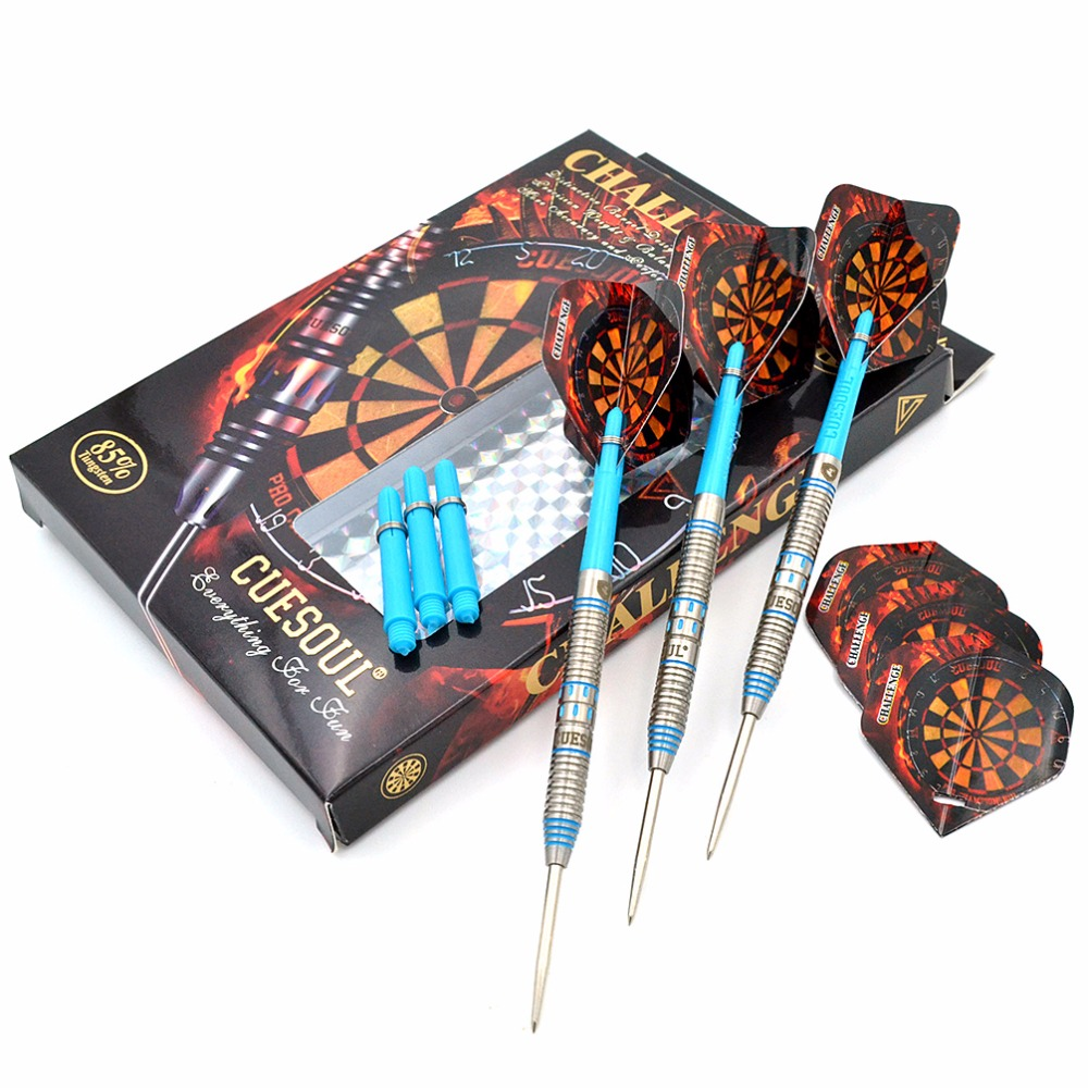 CUESOUL CHALLENGE 85% 22g/24g/26g Steel Tip Tungsten Dart Set With Blue Dart Shaft