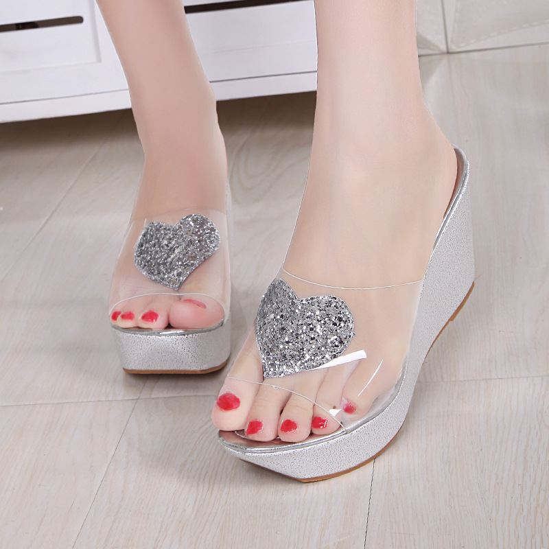 High Heel Wedge Platform Slippers Woman Summer Slides Fashion Glitter Sole  Transparent Upper Shoes Woman 34 39 3569-in Slippers from Shoes on  Aliexpress.com ... 8cd6cfd10d7c