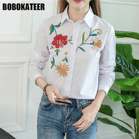 BOBOKATEER Embroidery Blouse Long Sleeve Shirt Women Blouses White Women Tops Ladies Office Blouses Blusas Mujer
