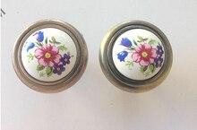 Vintage Ceramic Zinc alloy antique brass knob cabinet knob drawer pulls orchid flower print