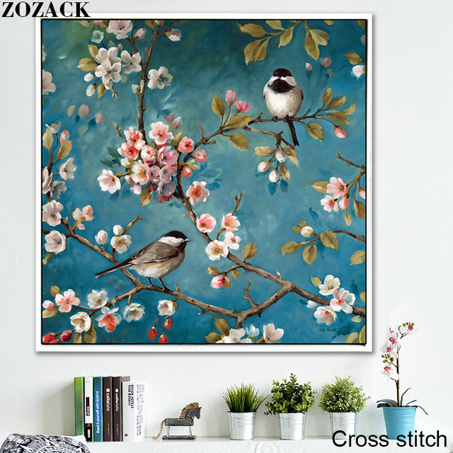 Zozack Handwerken, DMC DIY kruissteek, Volledige borduurpakketten, pruimenbloesem Birdie patronen chinese kruissteek gedrukt op canva