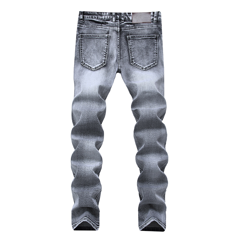 2018 HOT Men's white printed jeans, English print, elastic body, casual men's trousers Big Size Fashion Casual Pants 6150