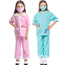 Umorden Purim Carnival Party Halloween Costumes Blue Pink Pet Vet Doctor Costume for Girls