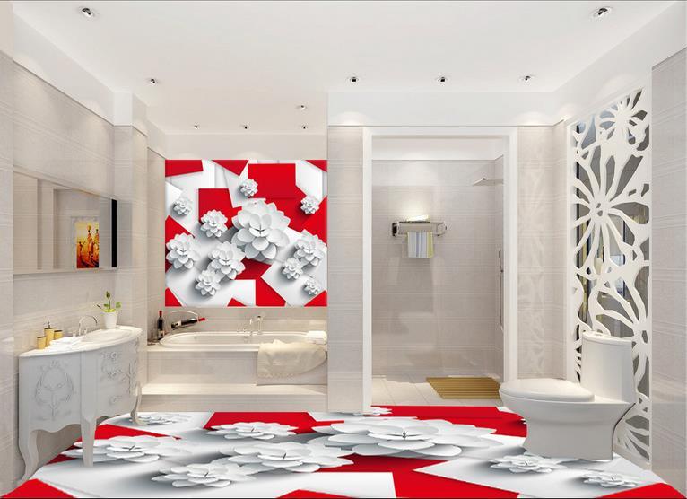 Pavimento Rosso E Bianco : D personalizzato piano pittura box rosso e bianco carta da parati