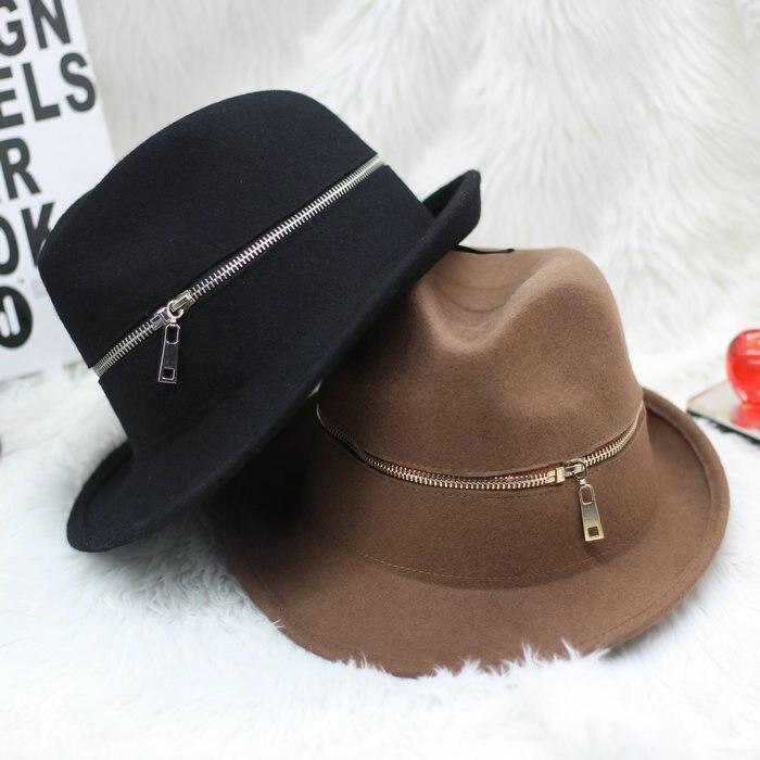 Winter Fashion Zipper Woolen Jazz Hat Men Fashion Felt Fedoras For Women Chapeu Panama Free Shipping WMDW027