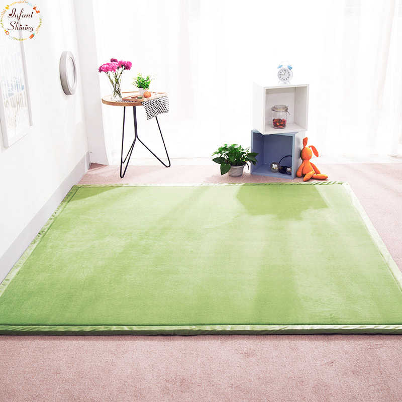 Infant Shining Coral Fleece Mat Area Rug for Living Room Kids Room Bedroom Floor Carpet 180*200 Thick 2CM Soft Tatami Rug