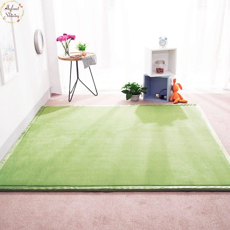 Bebé brillante de lana de Coral alfombra de alfombra para sala de niños habitación piso alfombra 180*200 de 2 CM suave Tatami alfombra