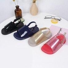 Летние детские сандалии Детская прозрачная обувь с открытым носком для мальчиков и девочек Однотонные пляжные сандалии на плоской подошве и шлепанцы для малышей