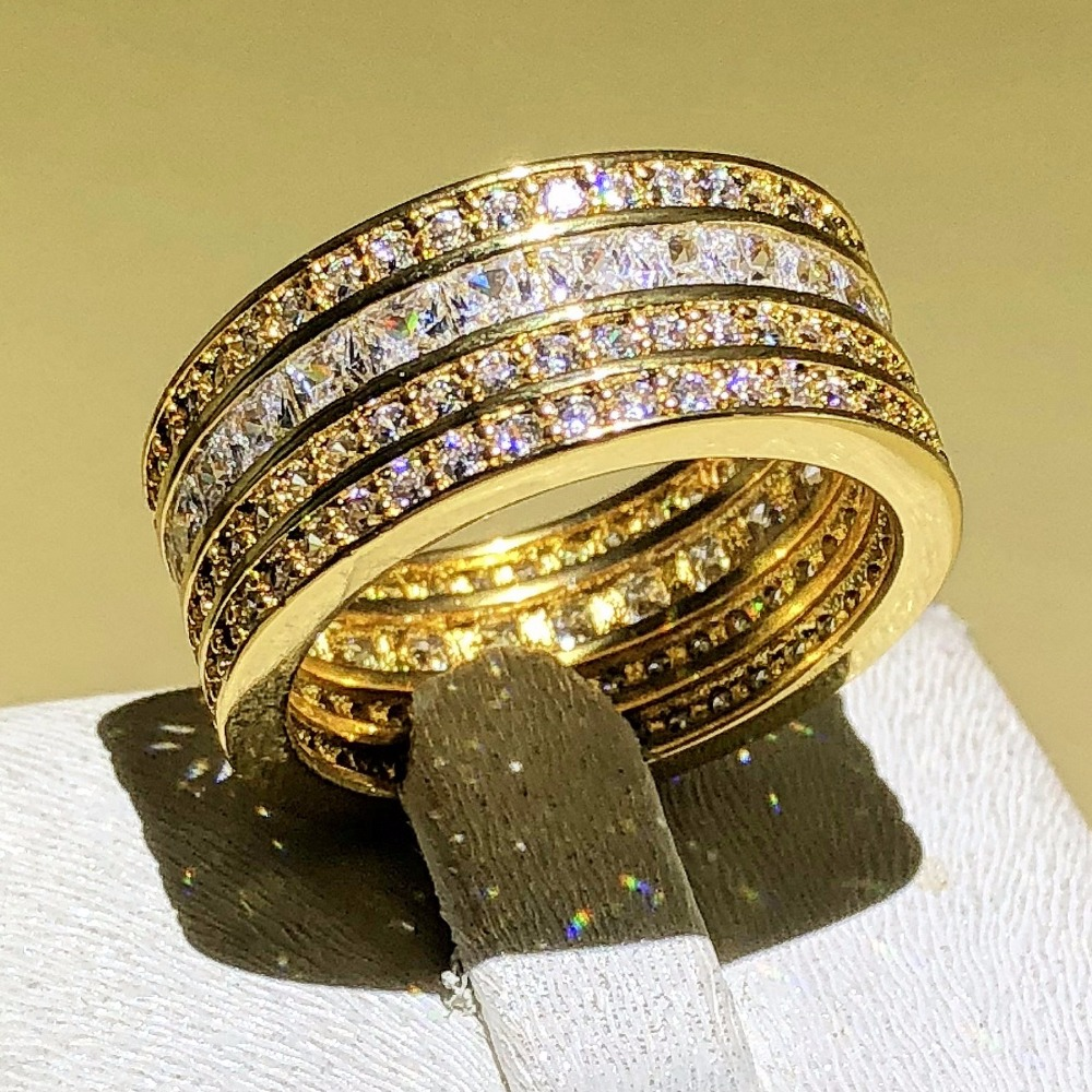 Lady Gold Ring 14ct Princess Cut Created white Sapphire Cubic Zirconia Wedding Bands Rings For Women men 925 Silver Jewelry gift