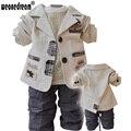 Топ продаж 2017 Зима детская Одежда Набор Хлопок baby boy дети дети верхняя одежда ребенка пальто наборы Бесплатная доставка