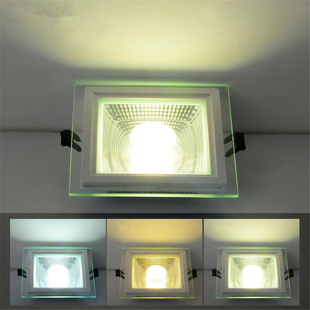Glass Square LED Panel Light 5W 10W 15W 25W COB LED Downlight Recessed Ceiling Spot Down Light AC85-265V Indoor Lighting Lamp 2d led panel light led recessed ceiling panel down light lamp warm white cool white ac85 265v 10w 15w 20w round type