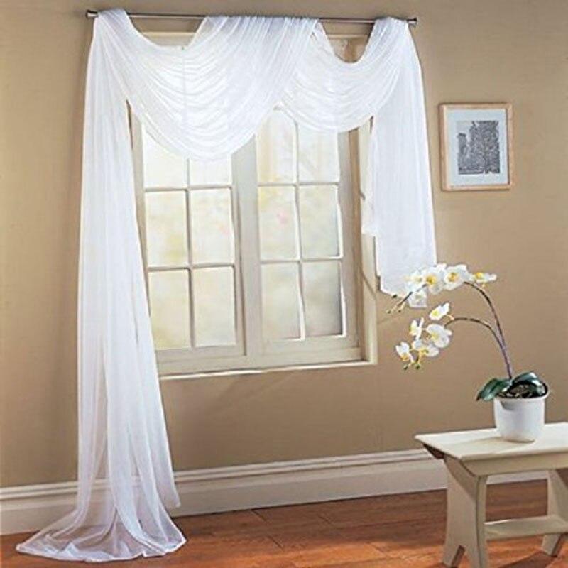 Valance Curtain Solid White Window Tulle Translucidus Curtains Modern  Window Treatments Decorative Voile Curtain AA(