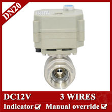 "3/4"" DC12V Full Port NPT/BSP two way motor operated valve, 3 wires(CR301)electric valve with manual override for fan coil"