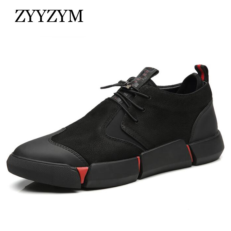 ZYYZYM Shoes Men All Black 2019 Autumn Winter Plush Keep Warm Men Casual Shoes Leather Breathable Fashion Men Shoes High Quality