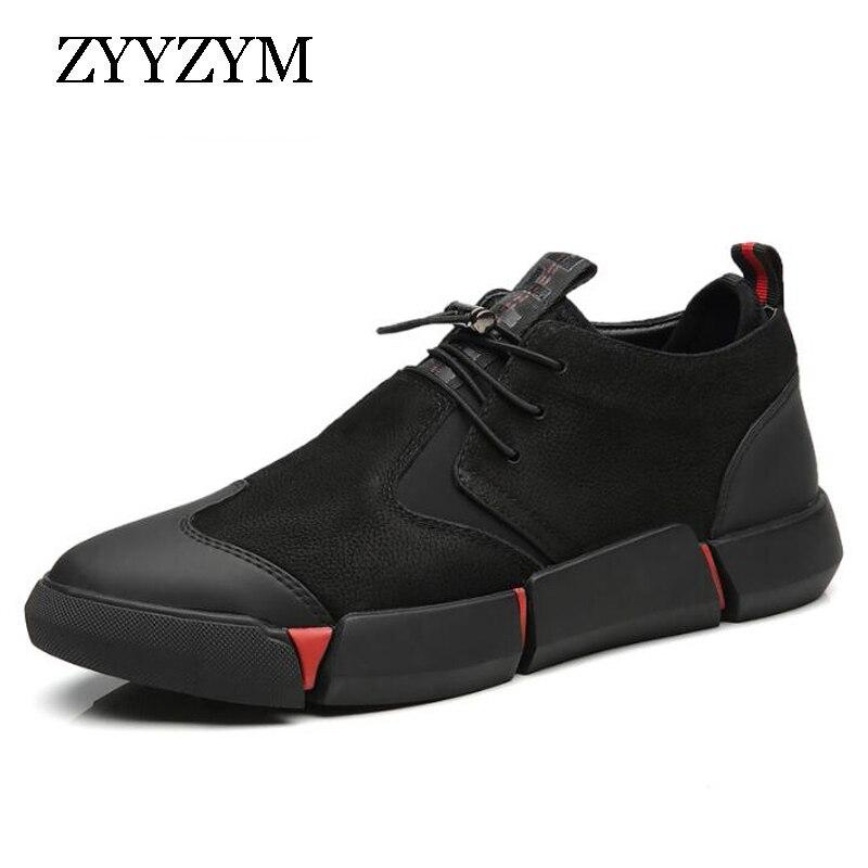 ZYYZYM Shoes Men Black 2019 Autumn inter Plush Keep Warm Men Casual Shoes Leather Breathable Fashion Innrech Market.com