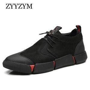 Image 1 - ZYYZYM Shoes Men Black Spring Autumn Men Casual Shoes Leather Breathable Fashion British Men Shoe Zapatos De Hombre