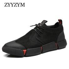 Zyyzym靴男性黒春の秋のメンズカジュアルシューズ革通気性ファッション英国男性靴zapatosデhombre