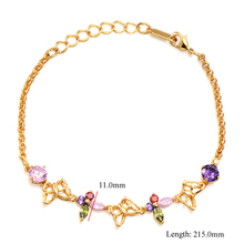 Lucky Butterfly Rainbow Crystal For Womens Girls Yellow Gold Color Statement Wedding Bracelets Free Shipping